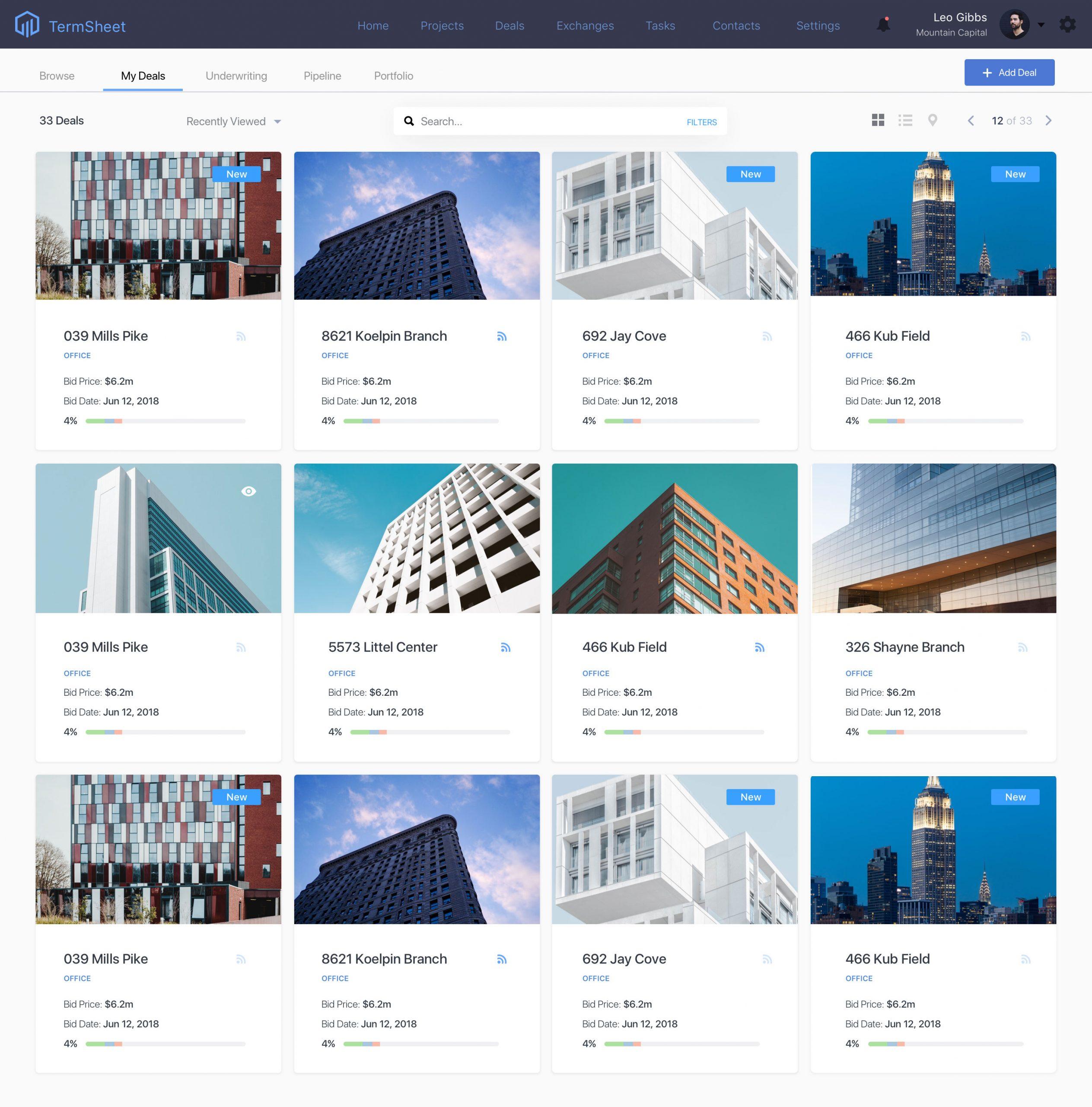 Termsheet deals page web design - designoholic